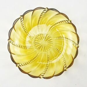 "Vintage Amber Glass Bowl Candy Nut Dish Swirl Diamond Point Design 7.5"""