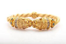 Ilias Lalaounis LION 3ct Ruby Sapphire Diamond 18k Gold Bangle Bracelet 74g