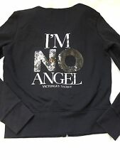 Victorias Secret Supermodel Essentials I'm No Angel Bling Black Hoodie sz Small