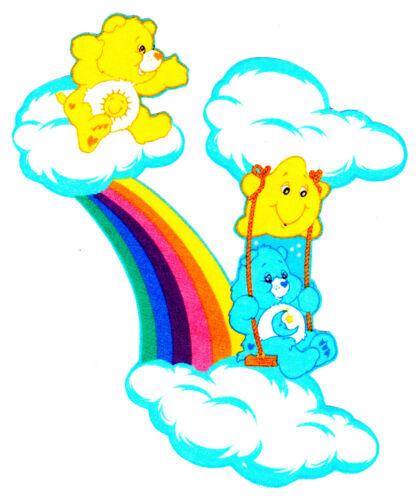 "6/"" Care bears rainbow swing bedtime funshine on a cloud fabric applique iron on"