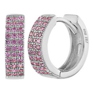 800ef14195b56 Details about 925 Sterling Silver Cubic Zirconia Huggie Hoop Earrings for  Teens or Women 0.51