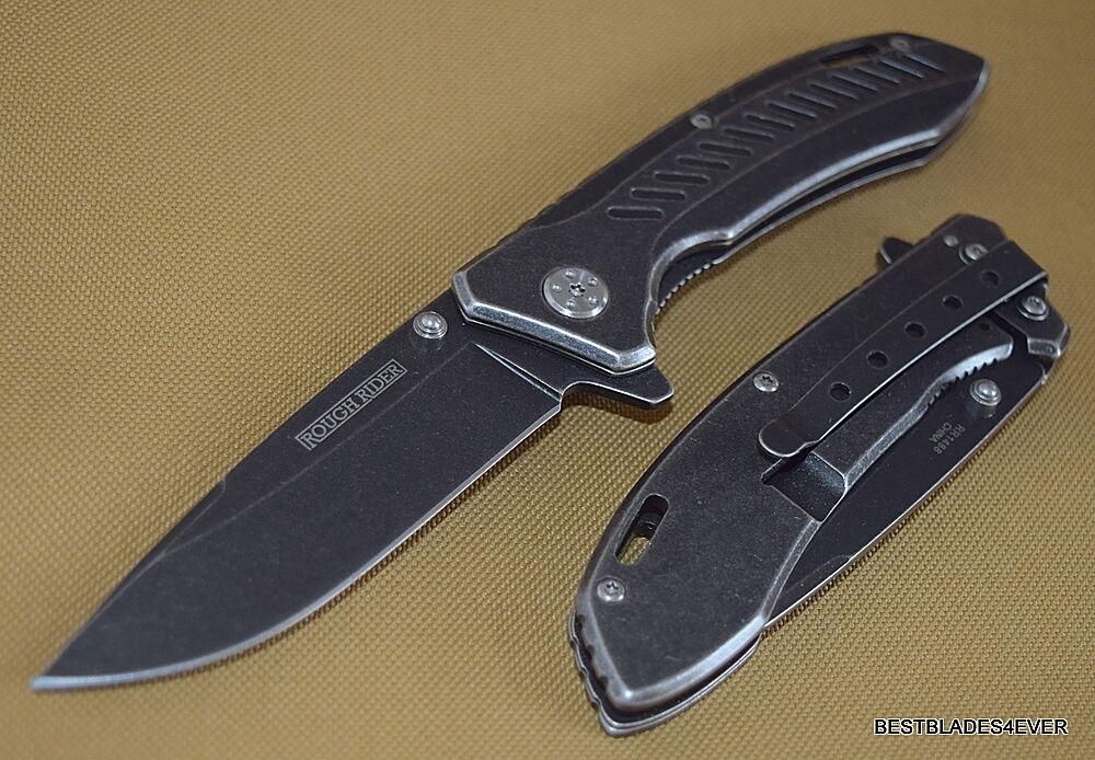 ROUGH RIDER SPRING ASSISTED KNIFE STONEWASH FINISH WITH CLIP RAZOR SHARP