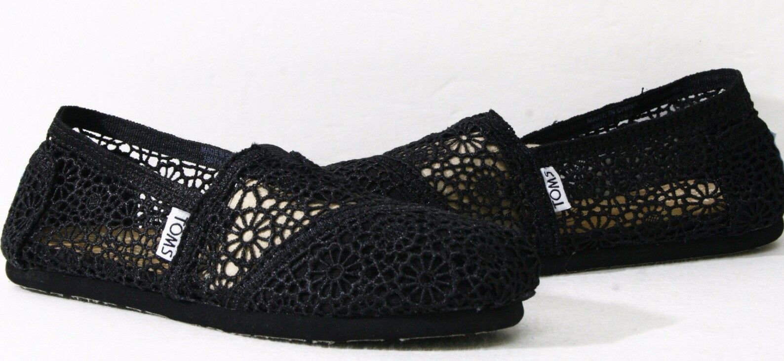 befdc021f874 Toms Womens Classic Crochet Slip on Alpargata Shoe 6.5 Black Morocco ...