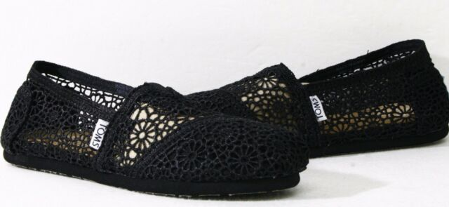 a958ef8c652 Toms Womens Classic Crochet Slip on Alpargata Shoe 6.5 Black Morocco ...