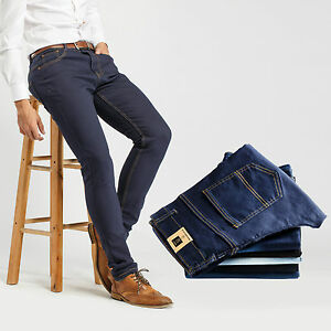 Slim Fit Jeans W30 Men/'s Robelli Designer Dark Navy Blue Cotton Denim Skinny