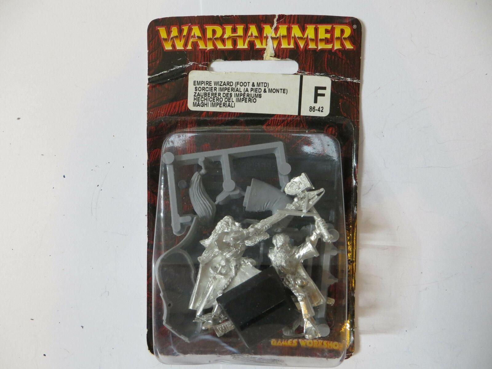EMPIRE WIZARD FOOT & MOUNTED - OOP Metal New In Blister Warhammer OOP Citadel