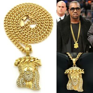 Mens iced out hip hop gold jesus face pendant w 24 cuban chain image is loading mens iced out hip hop gold jesus face aloadofball Image collections