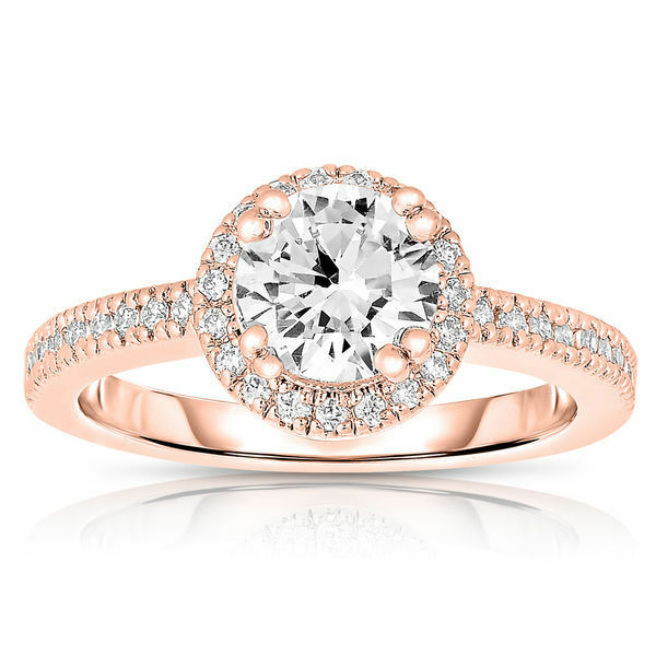 1.00Ct Round Real Diamond Ring 14K pink gold Ring Size 8 4 5 7 6 Christmas Sale.
