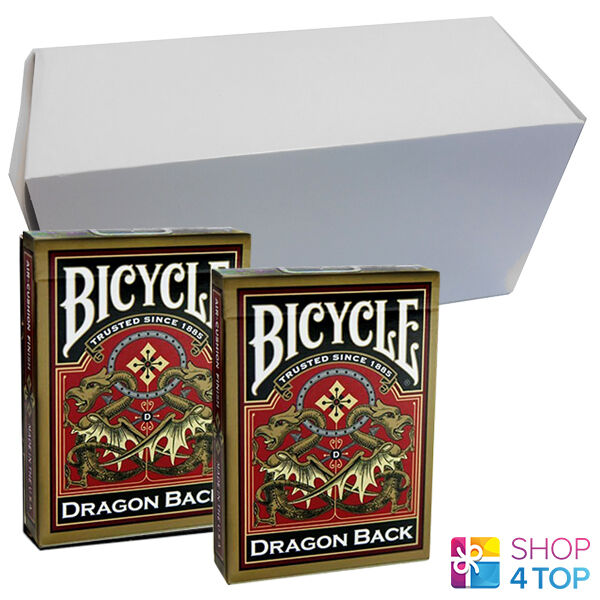 12 DECKS BICYCLE Gold DRAGON BACK ORIENTAL DESIGN PLAYING CARDS BOX CASE NEW