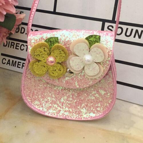 EG/_ AU/_ Shiny Sequins Flower Cute Cartoon Children Girls Crossbody Shoulder Bag