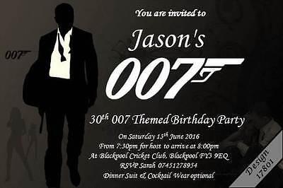 James Bond Themed  Personalised Party Invitations