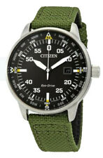 Citizen Eco-Drive Men's Date Calendar Green Nylon Strap 42mm Watch BM7390-31X