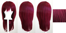 19'' Long Straight w/ Long Bangs Burgundy Red Cosplay Wig NEW