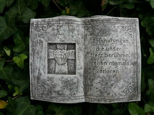 Grabschmuck schönes Buch mit Inschrift  Frostfest Steinguss Wetterfest Grab Deko