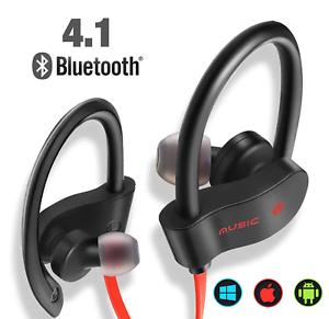 Dettagli su Auricolari Bluetooth 4.1 Cuffie Sport Wireless senza fili iPhone Samsung Huawei