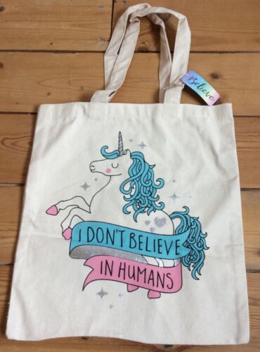 BNWT UNICORN PINK BLUE SPARKLY SILVER CANVAS TOTE SHOPPING BAG GIRL GIFT CUTE