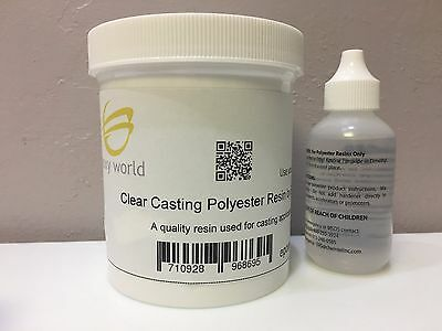 CLEAR POLYESTER CASTING RESIN by EPOXY WORLD 1 pint (16 oz.) with MEKP FREE SHIP