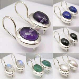 925-Silver-Earrings-FRESH-WATER-PEARL-amp-Other-13-Gemstones-Variation-Available