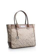 Calvin Klein logo jacquard large shopper tote shoulder bag Natural with white