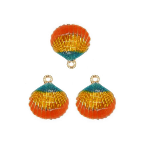 10pcs Colorful Alloy Sea Shells Charms Pendant Crafts Jewelry Findings 39114