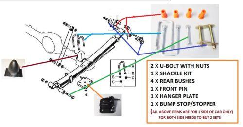 Rear Leaf Spring Ubolt+Shackle+Bush+Pin+Bump Stop+Plate Kit For L200 B40 2.5DiD