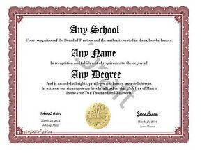 Create your own custom degree or diploma humor novelty burgundy border ebay for Make your own deploma
