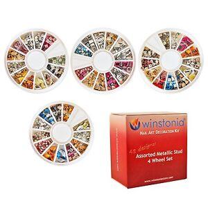 Winstonia-3D-Nail-Art-Metallic-Metal-Stud-48-Mix-Shapes-Bundle-Acrylic-Gel-USA