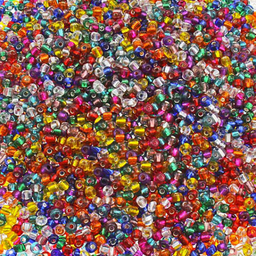 BD138 600 Glass Beads Silver Lined Seed Bead Mix 3mm x 3.5mm Multi Colors 56g