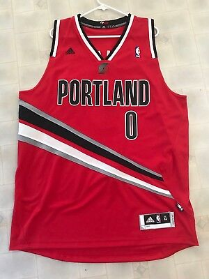 adidas Damian Lillard Portland Trail Blazers Red Finished Authentic Jersey