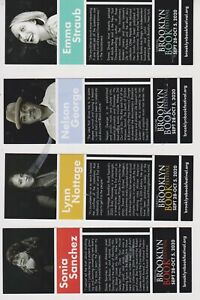 Set of 4 bookmarks for 2020 Brooklyn Book Fair Lynn Nottage Nelson George
