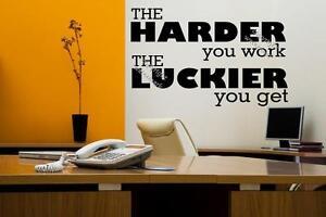 Detalles De El Trabajo Más Duro Que El Afortunado Que Usted Consigue Motivacionales Pared Adhesivo Calcomanía Hazlo Tú Mismo Uk Ver Título Original