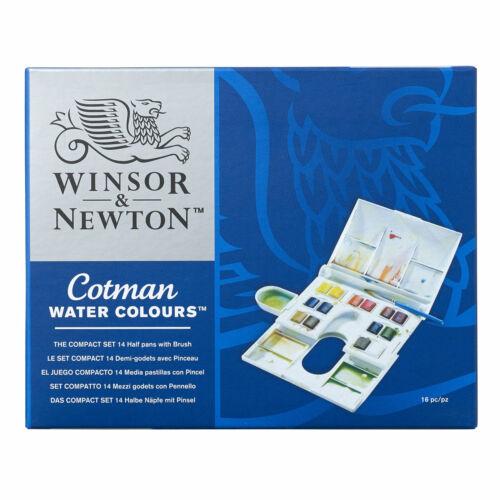 14 half pans Winsor /& Newton Cotman Watercolors Paint Compact Box