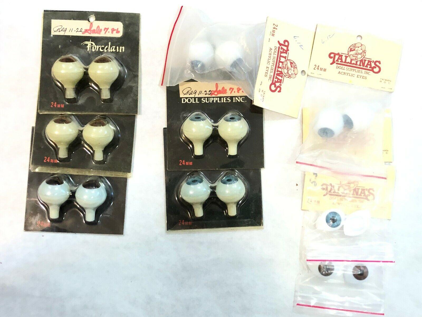 10 prs, TALLINA'S Paperweight  Acrylic  Doll eyes 24mm NOS + 2pr oval- Blau brn