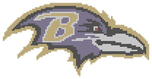 Counted Cross Stitch Pattern Baltimore Ravens Logo Free US Shipping