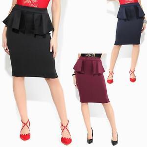 Women-Ladies-Peplum-Pencil-Midi-Skirt-Ruffle-Frill-Waist-Bodycon-Party-Office