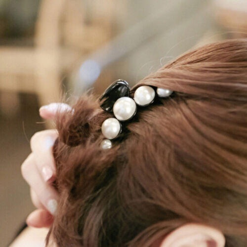 Women Pearl Rhinestone Headdress Hairpin Clip Hair Claw Accessories RS
