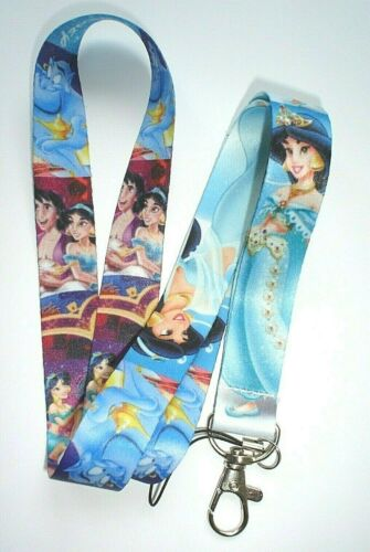 DISNEY ALADDIN PRINCESS JASMINE CHARACTERS LANYARD PIN ID TAG HOLDER NECK STRAP