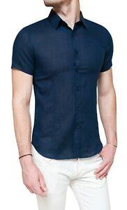 Camicia-di-lino-uomo-Sartoriale-blu-a-maniche-corte-casual-taglie-S-M-L-XL-XXL