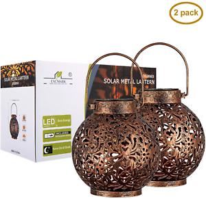 {2 Pack} Outdoor Solar Hanging Lantern Lights Metal LED Decorative Light
