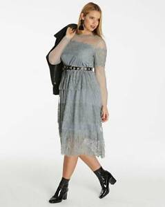 Printed lace cold shoulder maxi dress simply be uk size 22 bnwt