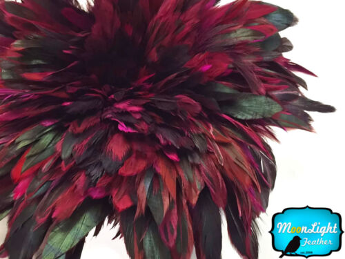 bulk MAGENTA Half Bronze Strung Rooster Schlappen Wholesale Feathers 1 Yard