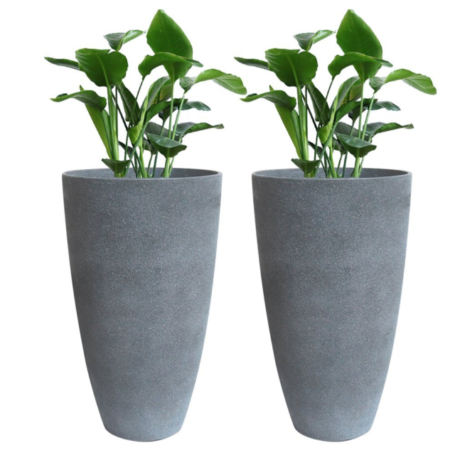 La Jolie Muse Tall Planters Set 2, Tall Outdoor Potted Plants For Patio