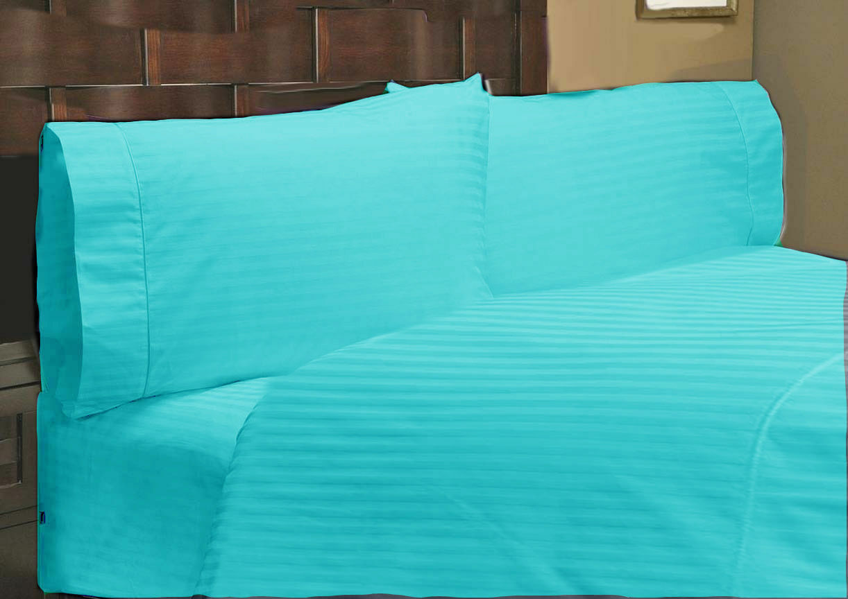 1000 TC Egyptian Cotton Extra Deep Pkt Fitted Sheet+2 pc Pillow Turquoise Stripe