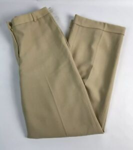 Talbots 8 Para Mujer Pantalones Sueltos 100 Lana Bronceado Pierna Ancha Dobladillo Con Puno Tela Italiana Ebay