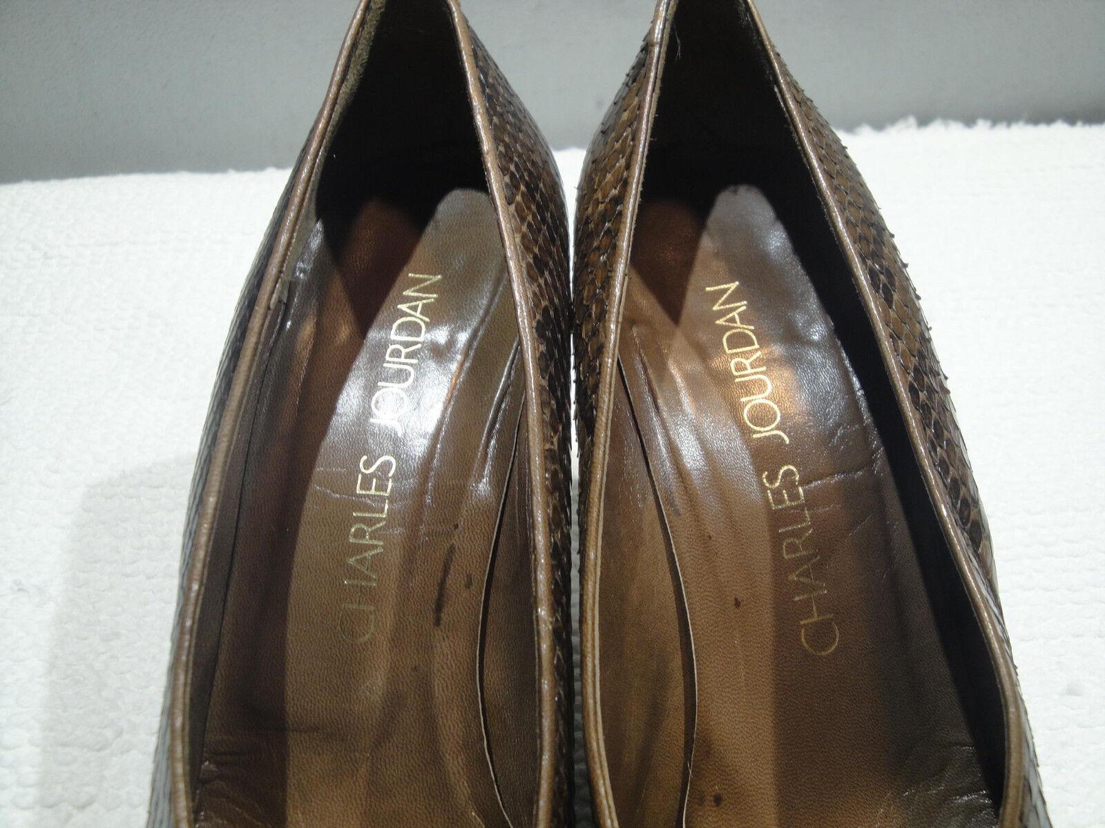 Damenschuhe 7 CHARLES JOURDAN SPAIN GENUINE SNAKE BROWN FASHION PUMPS HEELS Schuhe