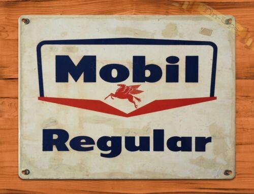 "/""Mobil Regular/"" Gas Rustic Oil Garage Wall Decor TIN SIGN"