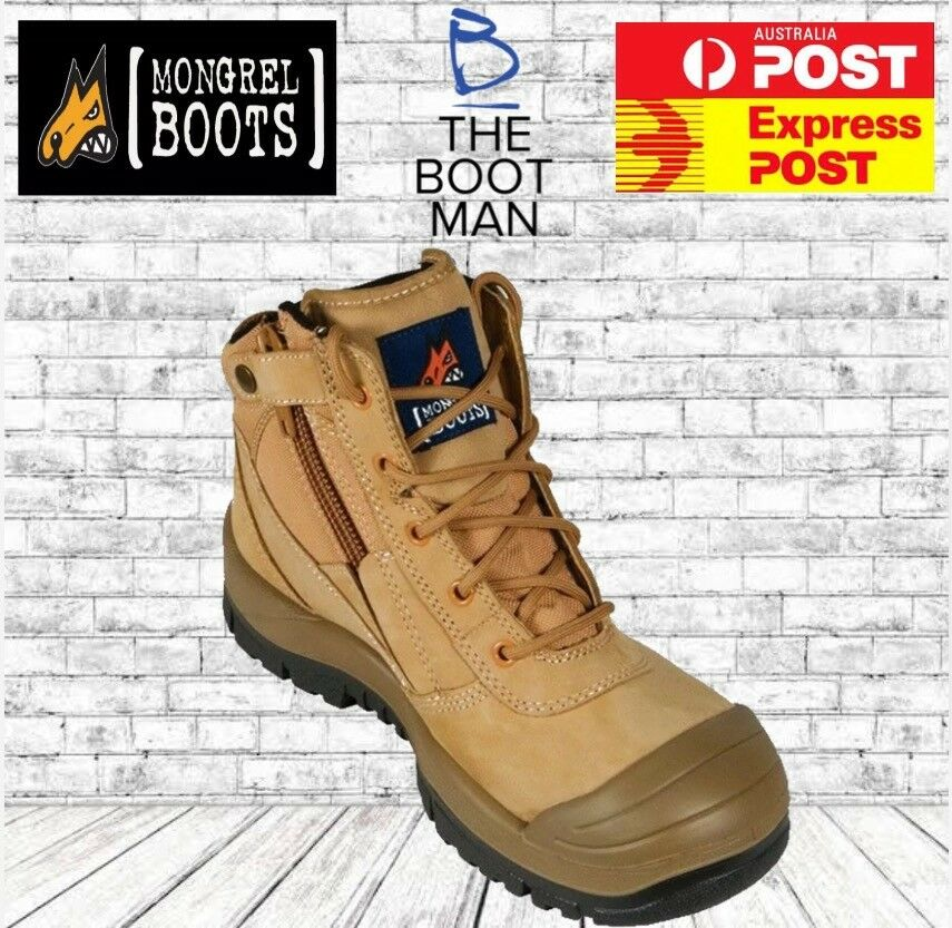 Mongrel 461050 Work Boots Steel Toe Safety Zip Sider Scuff Cap FREE EXPRESS POST