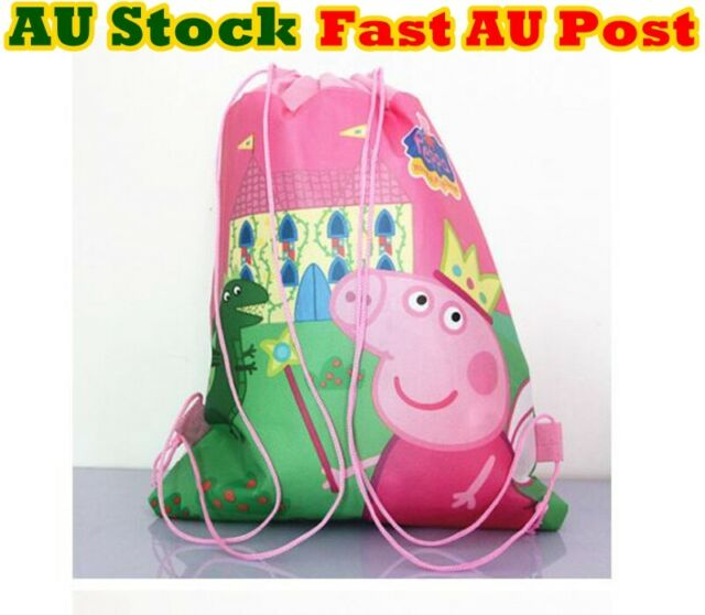 Peppa Pig Bag Drawstring Bag Library Bag Swimming Party Birthday Lolly Bag Pink