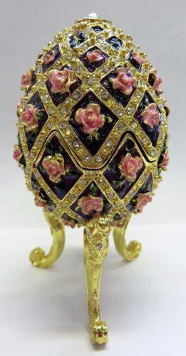 wunderschöne Spieluhr im Stil eines Faberge Ei, golden mit Rosenblüten NEU ROSEN