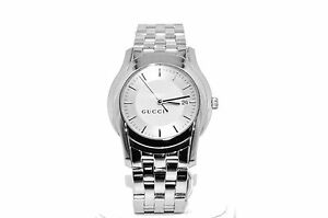 4c83dcfe4dc Image is loading Gucci-Stainless-Steel-Silver-Tone-5500-XL-Series-